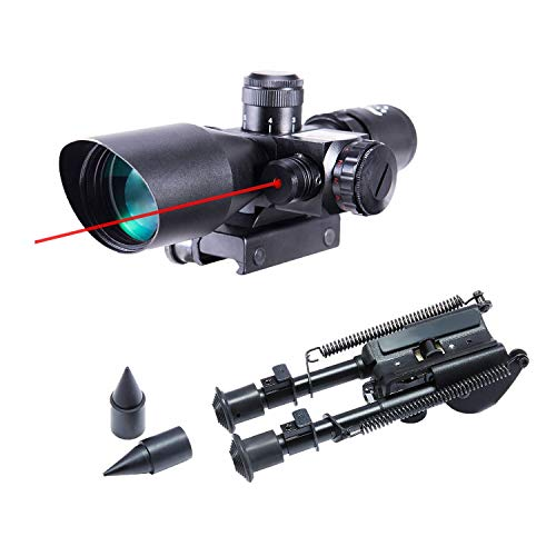Pinty 2.5-10x40 Red Green Illuminated Mil-dot Tactical Rifle Scope with Red Laser Combo & Rifle Bipod with 7 inch to 9.5 inch Adjustable Legs & Spikes, Works w Picatinny Rails