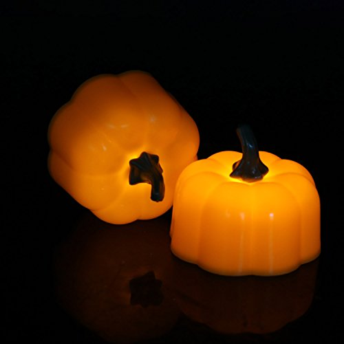 Set of 12pcs Mini Pumpkin Candles, Battery Operated Tealights Candles Flickering Yellow for Halloween Holiday Home Decor