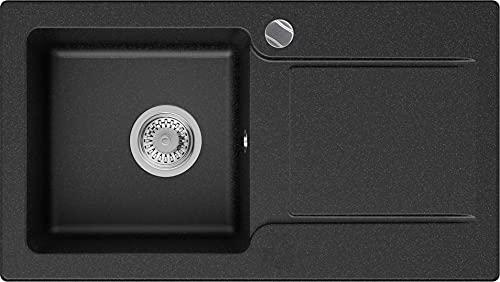 Granitspüle Graphit 78 x 44 cm, Spülbecken + Siphon Automatisch, Küchenspüle ab 45er Unterschrank in 5 Farben mit Siphon und Antibakterielle Varianten, Einbauspüle von Primagran