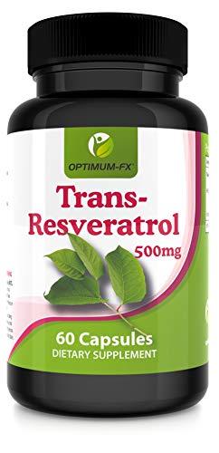 Resveratrol 500mg Capsules Trans Resveratrol Supplement High Strength – Top Grade - NOT Tablets or Powder – 60 Vegan Caps Per Pot 2 Months' Supply