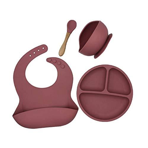 ACAMPTAR 4 Unids/Set de Vajilla de Silicona para Bebé Sin BPA, Babero Impermeable, Plato de Cena de Color SóLido, Cuenco de LechóN y Cuchara, Color Rosa