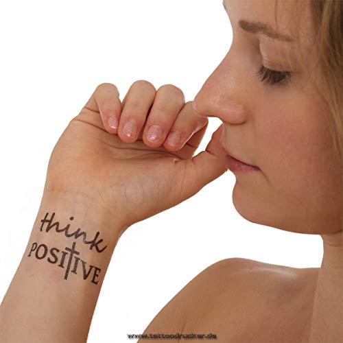 Think Positieve Tattoo – kruis-tekst in zwart – tijdelijke huidtattoo
