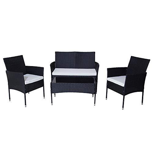 DREAMO Outdoor Patio Sofa Set 4 Seater Rattan Sofa Furniture Set for Backyard Garden Balcony (4 pcs black)