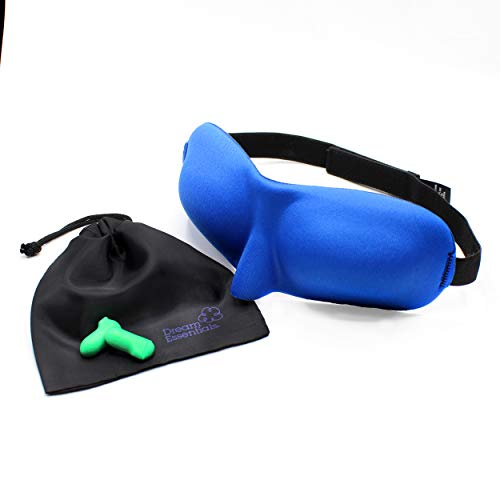 Dream Essentials Sweet Dreams Contoured Sleep Mask with Free Carry Pouch and Earplugs ~ Royal Blue