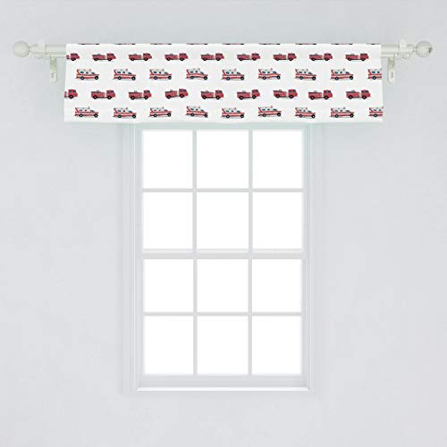 Lunarable Fire Truck Window Valance, Pattern of The Fire Engines and Ambulances Security Safety and Rescue Vehicles, Curtain Valance for Kitchen Bedroom Decor with Rod Pocket, 54' X 12', Ruby
