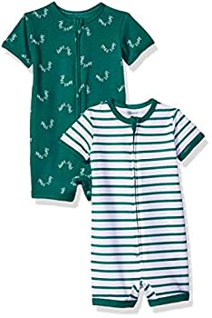 Hanes Ultimate Baby Zippin 2 Pack Rompers Green Stripes 6-12 Months