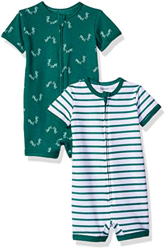 Hanes Ultimate Baby Zippin 2 Pack Rompers, Green Stripes, 0-6 Months