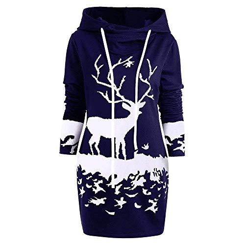 Weihnachtskleid Pulloverkleid Damen Herbst Festlich Schneeflock Lang Bekleidung Langarm Gedruck Knielang Hoodie Sweatshirt Blouse Kleider (Color : Blau H, Size : M)