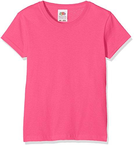 Fruit of the Loom Mädchen Valueweight T Girls T-Shirt, Rosa (Fuchsia 439), Herstellergröße: 104 (3-4)