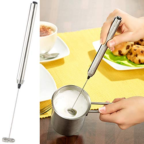 Rosenstein & Söhne Milchschäumer: Milchaufschäumer-Stick mit Edelstahl-Gehäuse, Spiralquirl mit Ø 24 mm (Milchaufschäumer manuell)