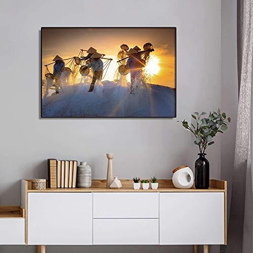 LPaWD Canvas schilderij Boeren geoogst in de zon Wall Art foto posters en prints moderne canvas kamer muurschildering decoratie A2 60x80cm