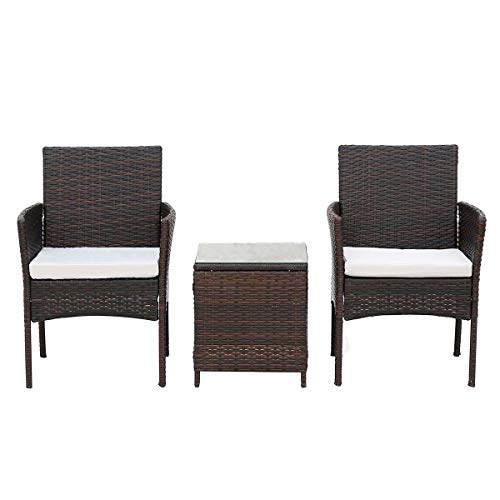 Zoyo Brown Rattan Garden Furniture Set 2 Seater Wicker Garden Table and Chairs Patio Sofa Armchair and Coffee Table Set with Seat Cushion Weave Conservatory (Brown 2 Seater)