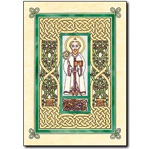 Saint Patrick's Day Relgious Greeting Card with Embossed Envelope, Holy Card and Cross Bookmark