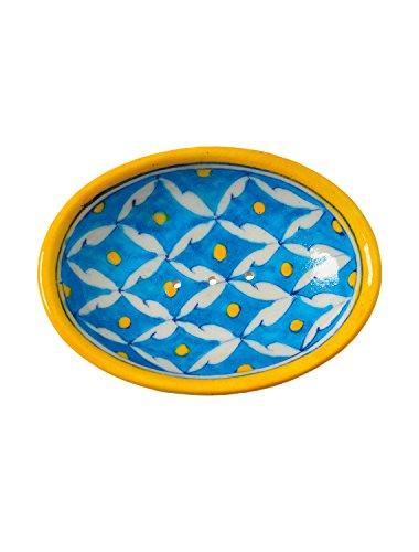 Tranquillo Seifenschale aus Keramik handbemalt in hellblau mit Löchern für den Wasserablauf 13 x 9,5 x 2 cm