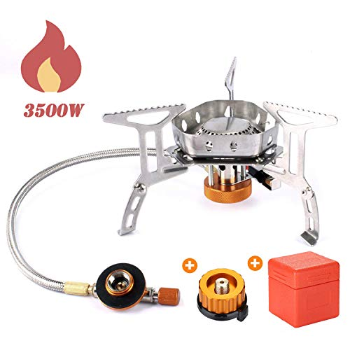 Odoland 3500W Windproof Camping Gas Stove Portable Collapsible Outdoor Camping Stove with Piezo Ignition Backpacking Stove for Outdoor Cooking Hiking Picnic and Trekking