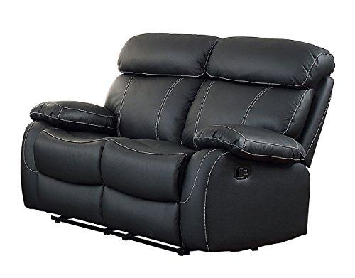 Homelegance Pendu Reclining Loveseat Top Grain Leather Match, Black