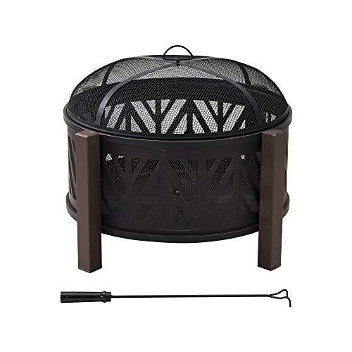 Sunjoy A301016500 Samson 31 in. Round Chevron Wood Burning Firepit, Brown and Black