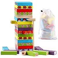 Joqutoys 54-Pieces Stacking Game Wooden Building Blocks