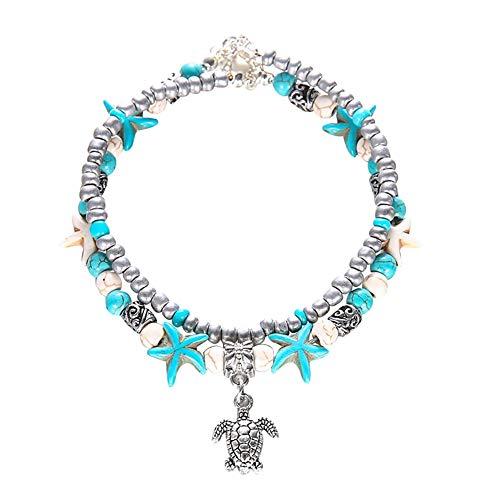 N-brand PULABO Boho Double Layer Perlen Starfish Turtle Charm Türkis Kette Knöchel Armband Silber Stabil Und Langlebig Beliebt