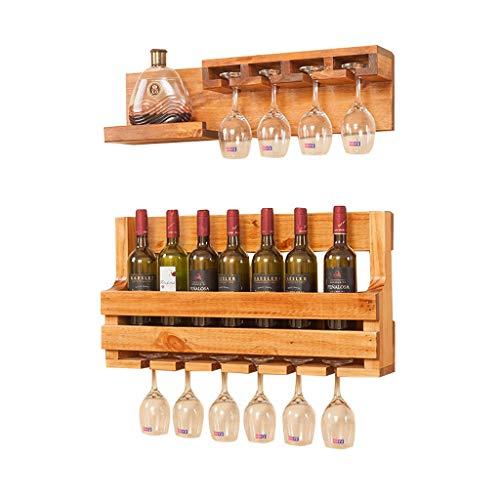 HAO SHOP Wijnrek voor wandmontage met glazen houder en plankje, Rustiek Wandrek Wijnflessenhouder, massief hout