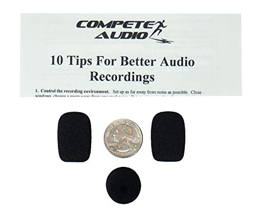 Compete Audio CA525 Small Foam Microphone Windscreens (Microphone Covers) 3-Pack for Telex Airman, Other Headset/Lapel (Lavalier)