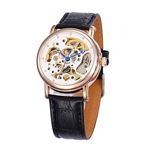 GSERA Armbanduhren Ladies Casual Swiss Hollow Automatische Mechanische Uhr Mit Verstellbarem Lederarmband