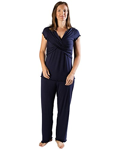 Kindred Bravely Davy Ultra Soft Maternity & Nursing Pajamas Sleepwear Set (Navy Blue, Medium)