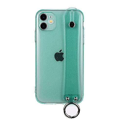 iPhone12 ケース クリアカラー シリコン (ミント) ホールド ベルトストラップ付き リング 落下防止 スタンド機能 カバー おしゃれ 韓国 スマホケース TPU ソフト かわいい 薄型 キラキラ ラメ グリッター