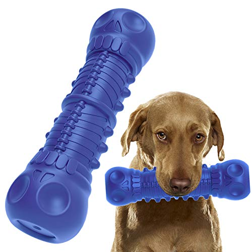 QUESPLE Squeaky Dog Chew Toys for Aggressive Chewers, Indestructible Tough Durable Dog Toothbrush Toys for Medium Large Dogs Natural Rubber Dental Care