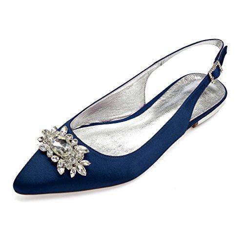 Zapatos De Novia Planos Mujer Punta Puntiaguda Correa De Tobillo Satén Slingback...
