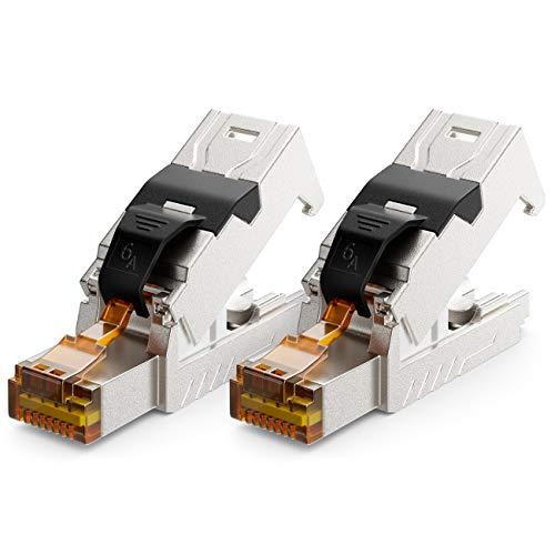 deleyCON 2X CAT 6a Netzwerkstecker RJ45 mit LSA Anschluss Werkzeuglos für Starre Verlegekabel LAN Kabel Netzwerkkabel RJ45 Stecker CAT6a Geschirmt Metallgehäuse 10Gbit/s