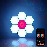 ハニカムライトBluetoothアプリ制御モジュラーハニカムライトDiyアセンブリ六角形量子ライト無料ステッチ壁装飾スマートランプ17ピース