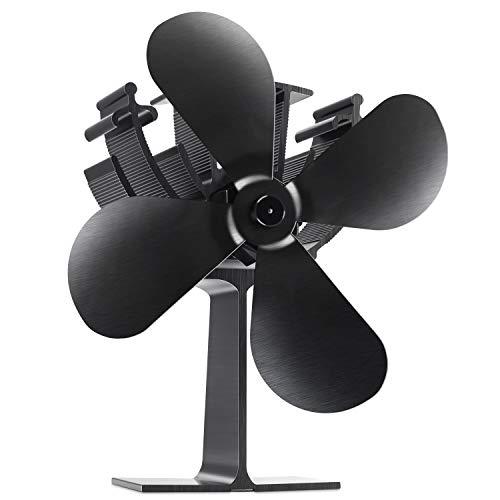 Albrillo Umweltfreundlich Ofenventilator mit 4 Rotorblätter für Holzöfen, Schwarz und Kein Lärm