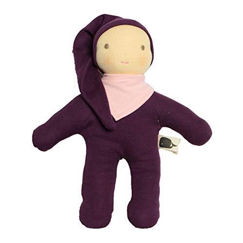 Walkiddy Organic Puppe Bio-Baumwolle Baby Kiddy (Violett) mitSchurwolle