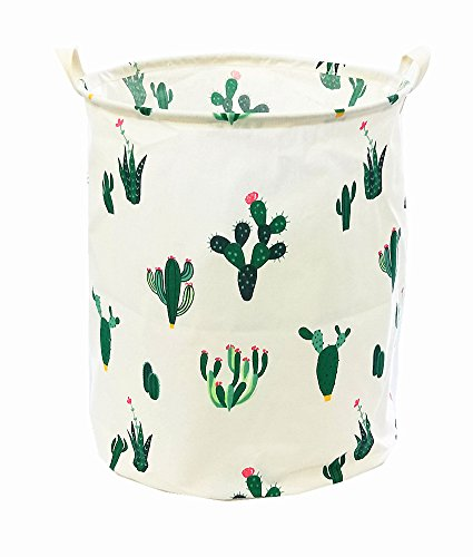 TIBAOLOVER 19.7 Large Sized Waterproof Foldable Canvas Laundry Hamper Bucket for Storage Bin,Kids Room,Home Organizer,Nursery Storage,Baby Hamper with Cactus Design(Green/Red)