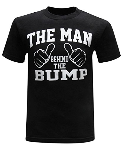 The Man Behind The Bump Men's Funny Novelty T-Shirt (Small) - Premium Black