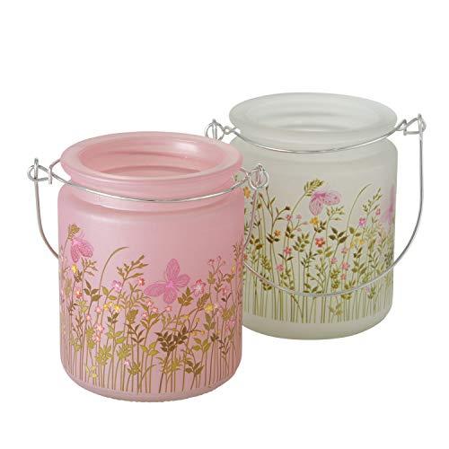 2 x Windlicht Rosalie, Floral, Glas lackiert, Rosa, Weiß, Höhe 10 cm, Landhaus, Blumen, Hochzeit