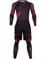 Heren Sport Compressie Broek & Panty 3 Stuk Set Outdoor Sneldrogende Lange Mouw Compressie Shirts Sport Fitness