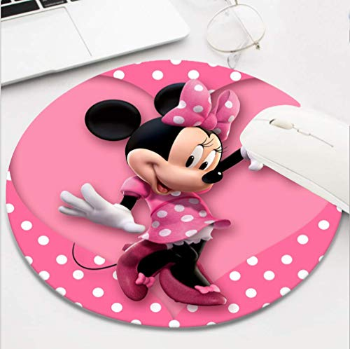 Round Gaming Pink Heart Minnie Mouse Mouse Pad, Non-Slip Rubber Mousepad for Desktop Laptop Computer Keyboard,Funny Cute Office and Home Gift (8 Inch)