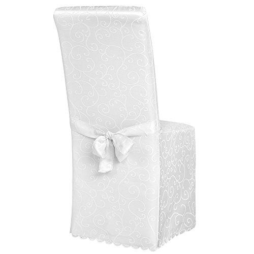 TecTake Stuhlhusse Stuhlüberzug Stuhlbezug mit Schleife und Muster weiß