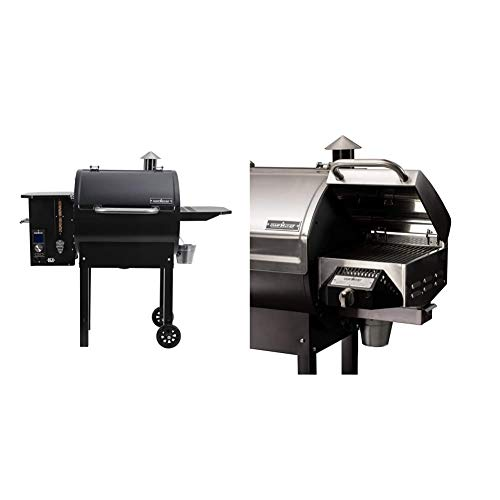 Camp Chef PG24DLX Deluxe Pellet Grill and Smoker BBQ with Digital Controls and Stainless Temp Probe & Chef Pellet Grill Accessory SmokePro BBQ Propane Sear Box