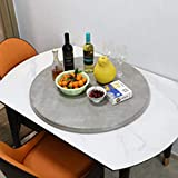 Large 30' inch Cement Like Grey Faux Marble Lazy Susan Rotating Turntable Dining Tabletop–Round Serving Wine, Cheese, and Meal Tray-Great for Board Games and Entertaining–Perfect Wedding and Home Gift