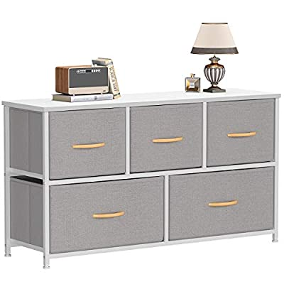 Cubiker Dresser Storage Organizer, 5 Drawer Dresser Tower Unit for Bedroom Hallway Entryway Closets, Small Dresser Clothes Storage with Wide Sturdy Steel Frame Wood Top, Light Grey