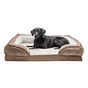 Furhaven Pet Dog Bed – Orthopedic Plush Velvet Waves Perfect Comfort Traditional Sofa-Style Living Room Couch Pet Bed with Removable Cover for Dogs and Cats, Brownstone, Jumbo