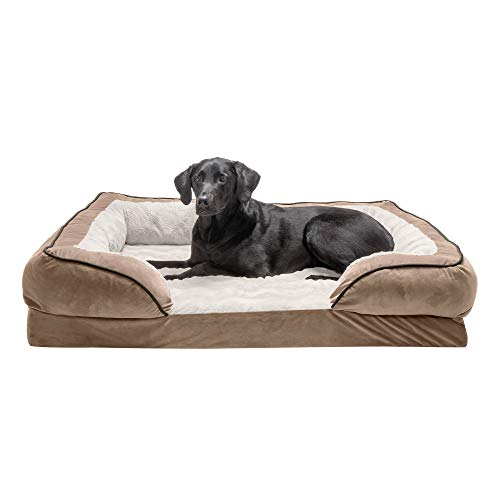 Furhaven Pet Dog Bed - Orthopedic Plush Velvet Waves Perfect Comfort Traditional Sofa-Style Living Room Couch Pet Bed with Removable Cover for Dogs and Cats, Brownstone, Jumbo