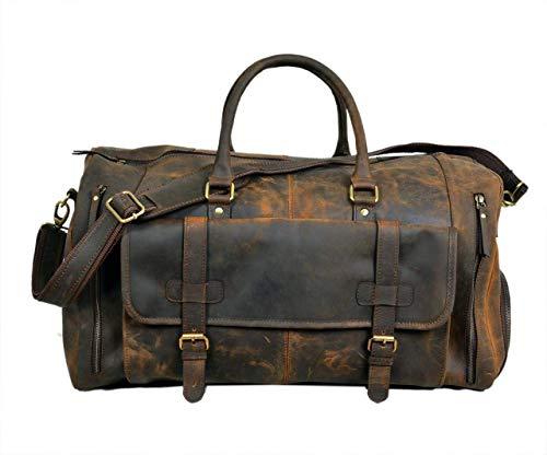 DHK Reisetasche Leder - Harvey Braun Weekender Damen Herren 24 Zoll Sporttasche Handgepäck
