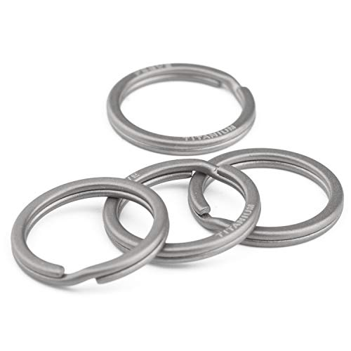 FEGVE Titanium Key Rings Split Rings 4 Packs, for Home Car Keys Organization, Non-Magnetic, Sandblasted (20mm / 0.79inch)