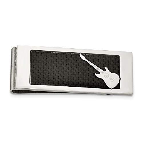 Acero inoxidable pulido negro guitarra incrustaciones de fibra de carbono pinza para billetes - JewelryWeb