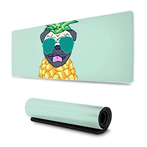 Gaming Moursepad Case Pug Pineapple With Sunglasses Large Mouse Pad Keyboard Pad Game Mouse Mat For Office Home,30 X 80 cm