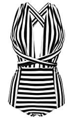 Sizes(recommend):Small:US2/US4 Medium:US6 Large:US8 X-Large:US10 XX-Large:US12 XXX-Large:US14/16 Hand Wash Cold/Flat Dry Removed cups ;Cross Front/Back;Garden Floral Monochrome Stripe Print Pattern:1.Vintage Backless High Waisted One Piece Swimsuit 2...